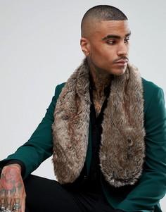 Коричневый шарф из искусственного меха ASOS - Коричневый