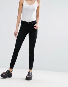 Черные укороченные джинсы с классической талией ASOS LISBON - Черный