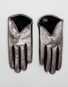 Серебристые кожаные перчатки с эффектом металлик ASOS - Серебряный