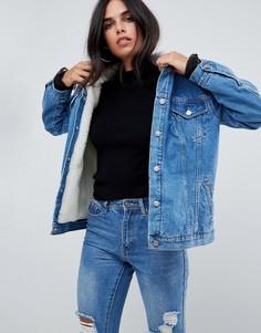 Джинсовая оверсайз-куртка с подкладкой из искуcственного меха Chorus - Синий