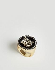 Золотистое кольцо-печатка с гепардом ASOS - Золотой