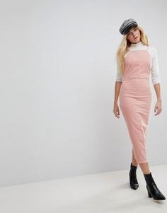 Бледно-розовое облегающее вельветовое платье ASOS - Розовый