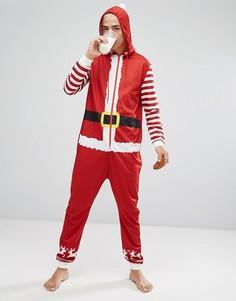 Новогодний комбинезон в виде Санта-Клауса с капюшоном SSDD - Красный
