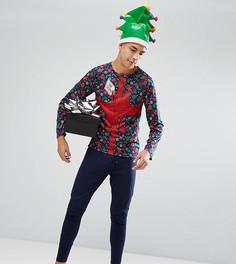 Новогодний пижамный комплект с длинными рукавами SSDD - Темно-синий