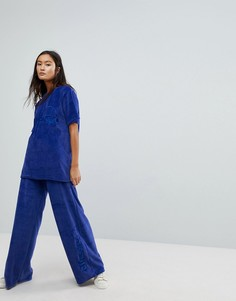 Велюровая oversize-футболка Ellesse Co-Ord - Темно-синий