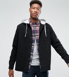 Джинсовая рубашка с капюшоном ASOS TALL - Черный
