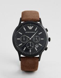 Коричневые часы с кожаным ремешком и хронографом Emporio Armani AR11078 - Коричневый
