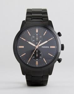 Черные наручные часы Fossil FS5379 Rutherford - Черный