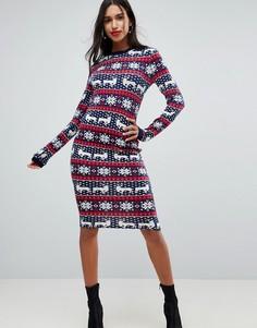 Новогоднее облегающее платье с узором Фэйр-Айл Club L - Мульти