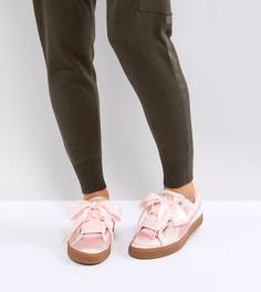Розовые бархатные кроссовки Puma Basket Heart - Розовый