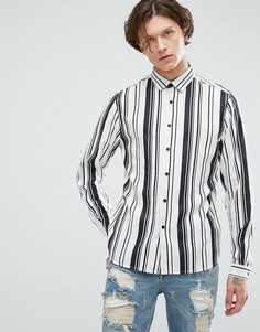Вискозная рубашка классического кроя в полоску ASOS - Бежевый