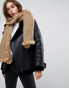 Вязаный шарф с искусственным мехом Urbancode - Бежевый