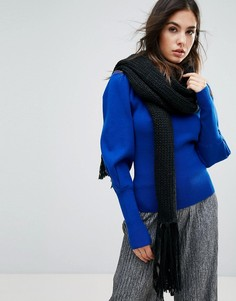 Вязаный oversize-шарф с кисточками Urbancode - Черный