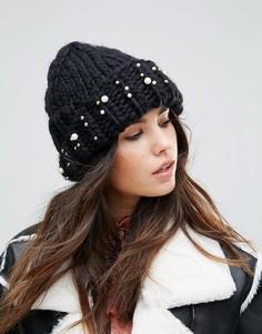 Вязаная шапка-бини с отделкой Urbancode - Черный