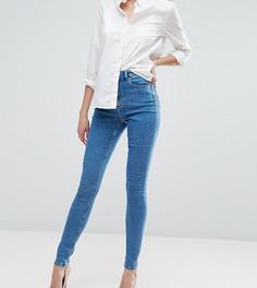 Выбеленные облегающие джинсы с завышенной талией ASOS TALL RIDLEY - Синий