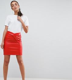 Фактурная мини-юбка из искусственной кожи ASOS TALL - Красный