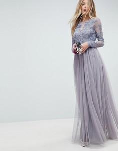 Сетчатое платье макси с вышивкой ASOS WEDDING - Розовый