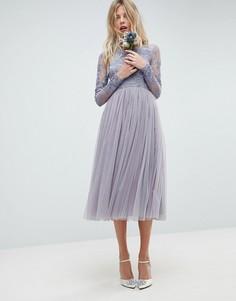 Платье миди с вышивкой ASOS WEDDING - Синий