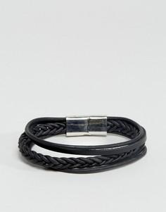 Черный кожаный плетеный браслет ASOS - Черный