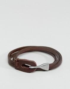 Коричневый кожаный браслет в два оборота ASOS - Коричневый
