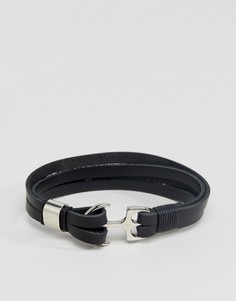 Кожаный браслет с застежкой-крючком ASOS - Черный