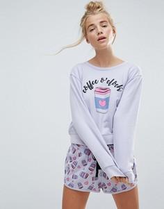 Пижамный комплект с шортами и принтом Coffee OClock ASOS - Мульти