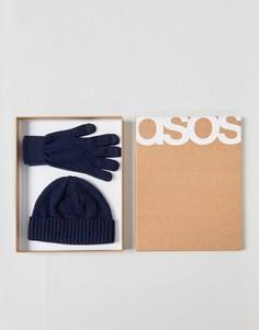 Темно-синяя шапка-бини и перчатки из овечьей шерсти в подарочном наборе ASOS - Темно-синий