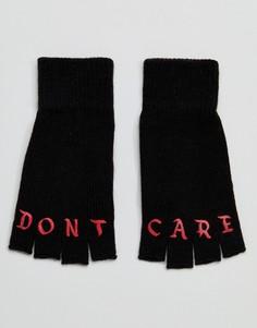 Черные перчатки без пальцев с принтом Dont Care ASOS - Черный