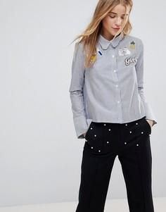 Рубашка в полоску с фигурным воротником и нашивками The English Factory - Синий