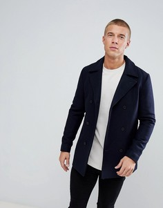 Двубортное пальто с добавлением шерсти Just Junkies - Темно-синий