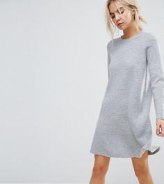 Трикотажное платье с оборкой ASOS PETITE - Серый