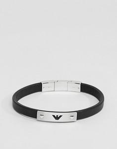 Черный кожаный браслет с логотипом-орлом Emporio Armani - Черный