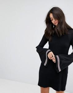 Трикотажное платье с рукавами клеш Free People Zou Bisou - Черный