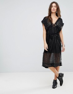 Платье миди с отделкой Free People - Черный