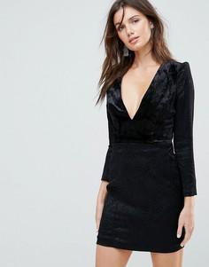 Бархатное платье мини с подплечниками Free People Naomi - Черный