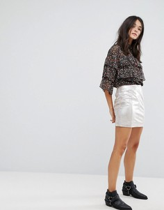 Мини-юбка из искусственной замши с оттенком металлик Free People New Modern Femme - Серебряный