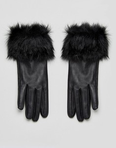 Кожаные перчатки с отделкой из искусственного меха Urbancode - Черный
