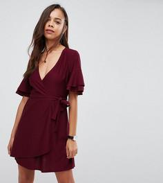 Платье мини с запахом и рукавами клеш ASOS PETITE - Красный
