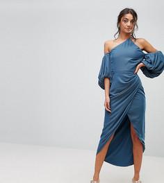 Бархатное платье миди на одно плечо с драпировкой ASOS TALL - Синий
