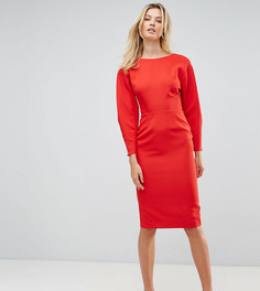 Платье-футляр миди в стиле 80-х с пышными рукавами ASOS TALL - Красный