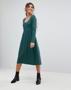 Свободное платье миди с планкой на пуговицах ASOS - Зеленый