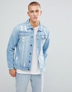Светлая рваная джинсовая куртка Brave Soul - Синий