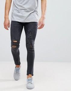 Рваные джинсы скинни с бахромой Brave Soul - Черный