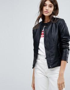 Куртка без воротника из искусственной кожи JDY - Черный