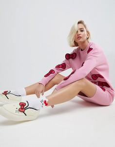 Трикотажное платье миди с объемными бантиками Hello Kitty X ASOS - Розовый