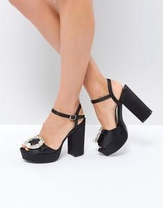 Туфли на каблуке и платформе с украшением Boohoo - Черный