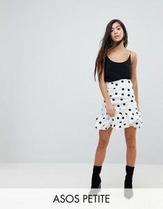 Мини-юбка в горошек с завышенной талией ASOS PETITE - Белый