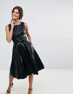 Фактурное платье с плиссированным воротом и поясом Closet - Черный