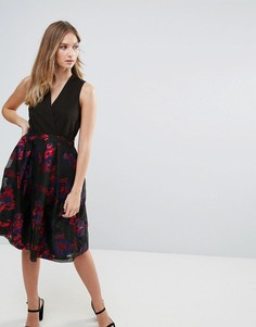 Платье с V-образным вырезом и цветочным принтом металлик Closet - Мульти