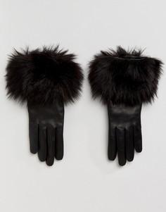 Перчатки с искусственным мехом Ted Baker - Черный